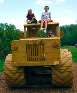 Kids climb aboard our giant earthmover at Downey's Farm in Caledon, Ontario.