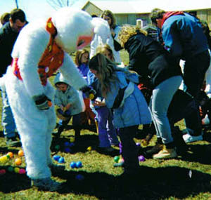 Giant Easter Egg hunt at Downey's Farm Market in Caledon, Ontario near Toronto